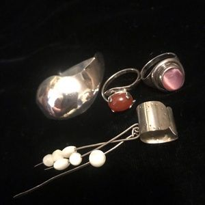 Lot of vintage sterling silver BOHO jewelry